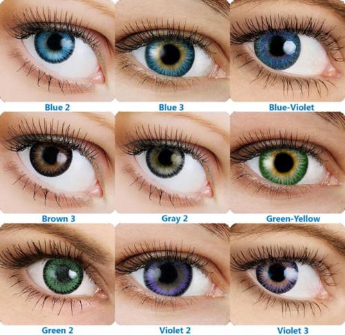 Разноцветные линзы на глазах