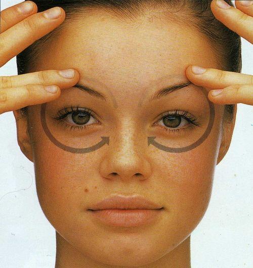 Круговые стрелки вокруг глаз девушки