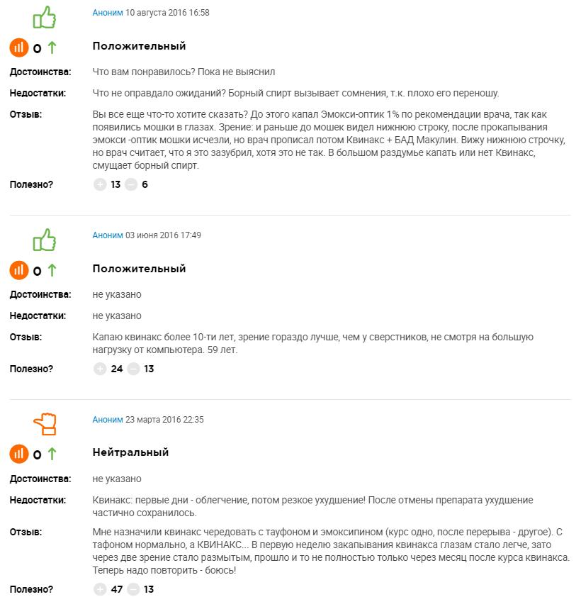Отзывы о каплях Квинакс