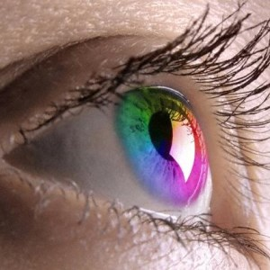 Линза цветная на глазах