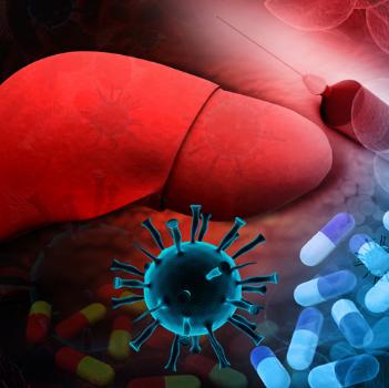 Изображение печени и вируса гепатита