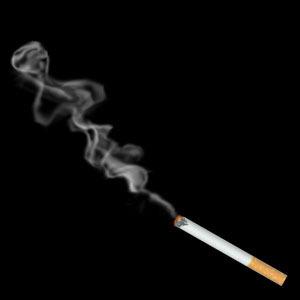 Сигарета дымит