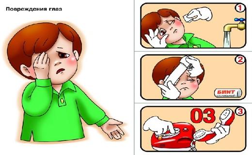 Первая помощь при повреждении глаза